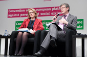 Jan O'Sullivan, Minister of State of Ireland, on the left, and László Andor - 05-07/12/2012 - Second Annual Convention of the Platform against Poverty and Social Exclusion