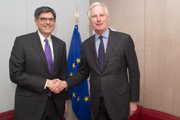 Jacob J. Lew et Michel Barnier