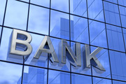 "Facade of a building on which the word ""Bank"" is written in large letters"