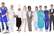 Line of different professionals, among which you recognise a plane pilot (man), a cleaner (man), a paintor (man), a cook (lady), two business women, a doctor (lady), a nurse (man), and a worker (lady)