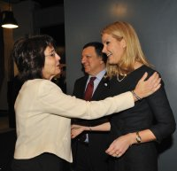 Commissioner Maria Damanaki with President José Manuel Barroso and the Danish Prime Minister Helle Thorning-Schmidt