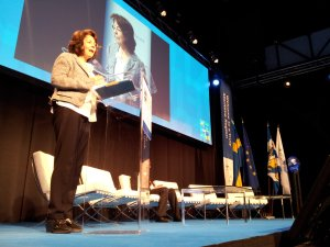 La commissaire Maria Damanaki prononce son discours liminaire lors de la conférence de 2012 sur la Journée maritime européenne