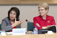Commissioner Maria Damanaki and Dr Jane Lubchenco at the European Parliament hearing