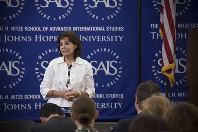 "Commissioner Maria Damanaki gives her speech ""Two continents, one purpose: defeating Illegal Fishing"" at John Hopkins School of Advanced International Studies (Washington DC)"