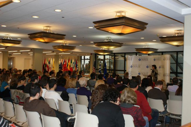 Commissioner Maria Damanaki gives a speech at the Deree College, Athens