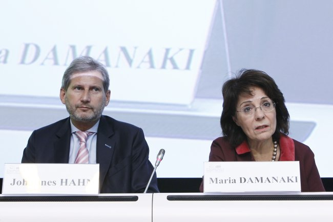 "Commissioner Maria Damanaki and Commissioner for Regional Policy Johannes Hahn at the Debate ""Delivering Europe 2020"""