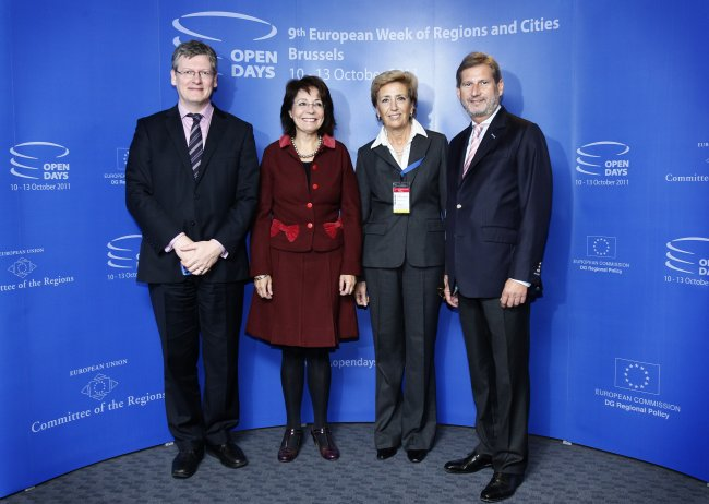 Commissioners László Andor and Maria Damanaki, Loretta Dormal-Marino, Deputy Director-General in DG Agriculture and Rural Development and Commissioner Johannes Hahn at the EU Open Days 2011