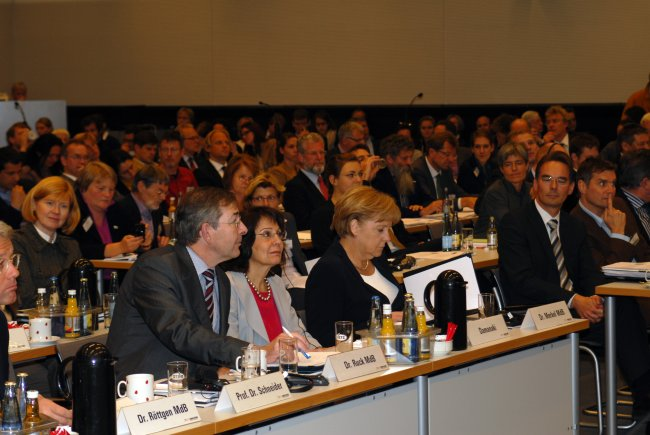 "Commissioner Maria Damanaki with Chancellor Angela Merkel at the Congress ""Rio+20: are the oceans sinking?"""