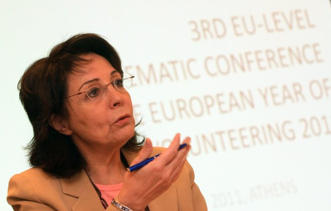 Maria Damanaki speaking at the Third EU-level conference on the European Year of Volunteering (Athens)