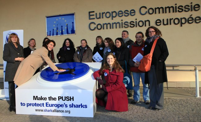 "Commissioner Maria Damanaki ""makes the push"" for strengthening the EU ban on shark finning"