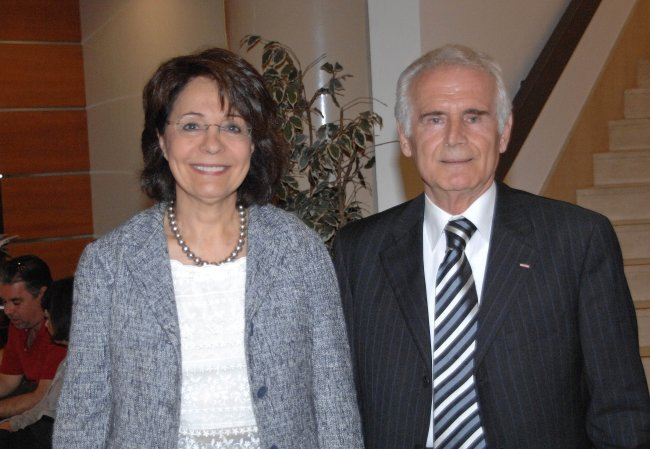 Commissioner Maria Damanaki with Vice-Admiral Maratos, at the XVIII International Hydrographic Conference, Monaco