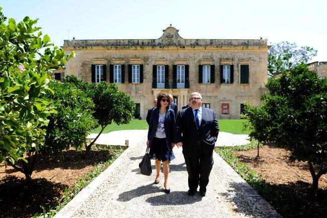 Commissioner Maria Damanaki with Mr George PULLICINO, Maltese Minister for Resources and Rural Affairs
