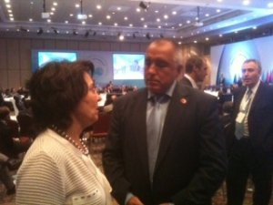 Commissioner Maria Damanaki with the Prime Minister of Bulgaria, Mr Boyko Borissov at the BSEC 20th Anniversary Summit