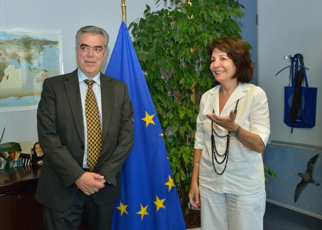 Commissioner Maria Damanaki with Dimitris Kourkoulas, Greek Deputy Minister for Foreign Affairs