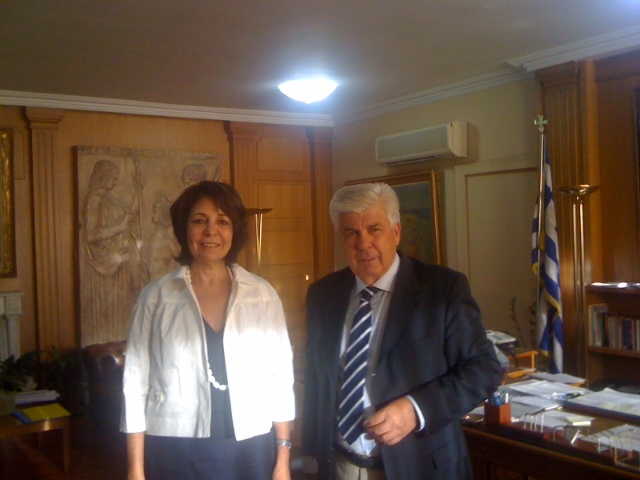 Commissioner Maria Damanaki with Professor Athanassios Tsaftaris, Greek Minister for Rural Development and Food