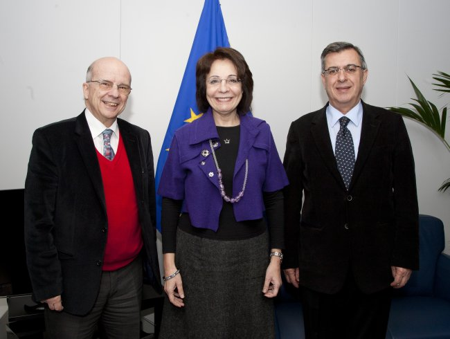 Ambassador Leonidas Chrysanthopoulos, Commissioner Maria Damanaki and Edouard Panoian, Executive Manager of the Organization of the BSEC