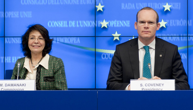 Commissioner Maria DAMANAKI with Mr Simon COVENEY, Irish Minister for Agriculture, Food and the Marine