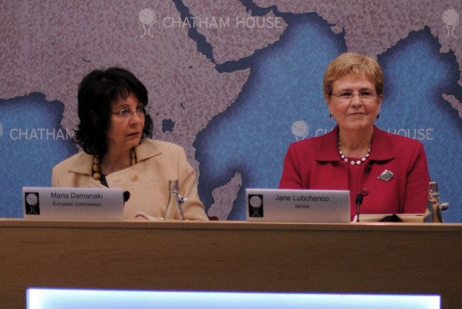 Commissioner Damanaki on the panel with Dr Jane Lubchenko, US Under Secretary of Commerce for Oceans and Atmosphere