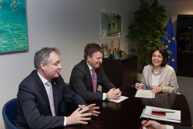 From left to right: Richard Lochhead, Scottish Cabinet Secretary for Rural Affairs and the Environment, Richard Benyon and Maria Damanaki