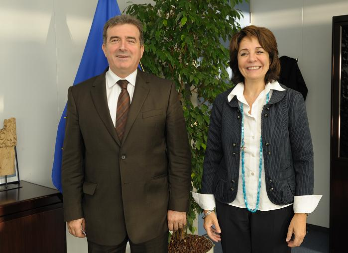 Maria Damanaki, Member of the EC in charge of Maritime Affairs and Fisheries receives Michalis Chrysochoidis, Greek Minister for Regional Development and Competitiveness