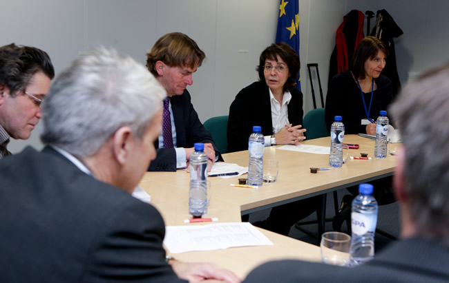 Maria Damanaki, Member of the EC in charge of Maritime Affairs and Fisheries receives members of the Agriculture and Fisheries committee of the Dutch Parliament