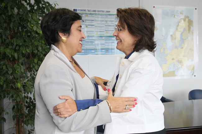 Maria Damanaki, Member of the EC in charge of Maritime Affairs and Fisheries receives Erato Kozakou-Markoulli, Cypriot Minister for Communications and Works