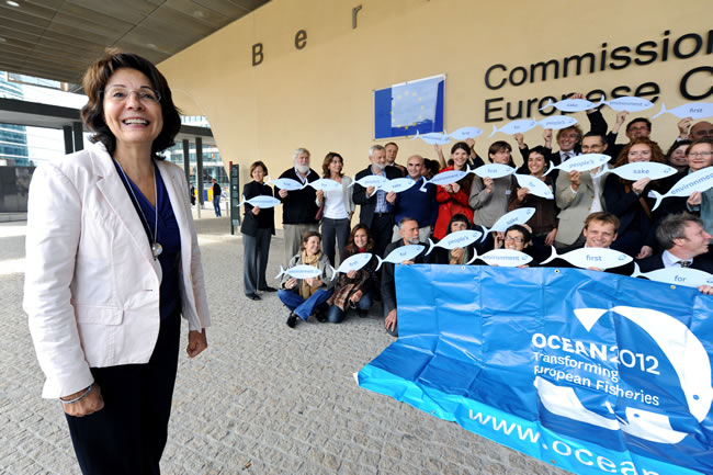 Maria Damanaki, Member of the EC in charge of Maritime Affairs and Fisheries receives representatives from the coalition OCEAN 2012