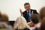 Karel De Gucht, at the podium during a speach at the Univesity College of London.
