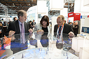 Commissioner and MEP Jo Leinen (on the left) at the Hannover Messe 2013, pictured at the joint stand 'Hydrogen & Fuel Cells', Hannover, 11 April 2013, © DMAG, 2013