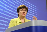 Commissioner Georgieva at the press conference in Brussels © EU
