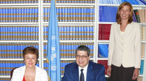 Commissioner Kristalina Georgieva, H.E. Mr Nicholas Emiliou, Ambassador Extraordinary and Plenipotentiary, Permanent Representative of the Republic of Cyprus to the United Nations, and Gabriele Goettsche-Wanli, Chief of Treaty Section, UN Office of Legal Affairs (c) Photo courtesy Benoit Marcotte/UN Photo