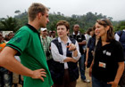 Kristilina Georgieva is greeted by implementing partners in Kitutu (c) EU
