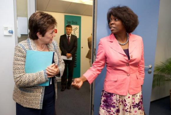 Commissioner Georgieva (left) and Ertharin Cousin, Executive Director of the United Nations World Food Programme (right)