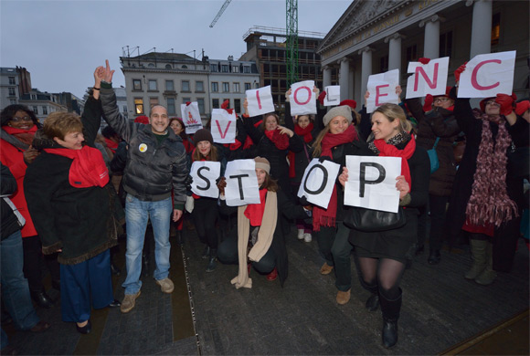 In solidarity of ending violence against women, Kristalina Georgieva takes part in a 'One Billion Rising Campaign' flash-mob organised by the European Women's Lobby (EWL) at Place de la Monnaie