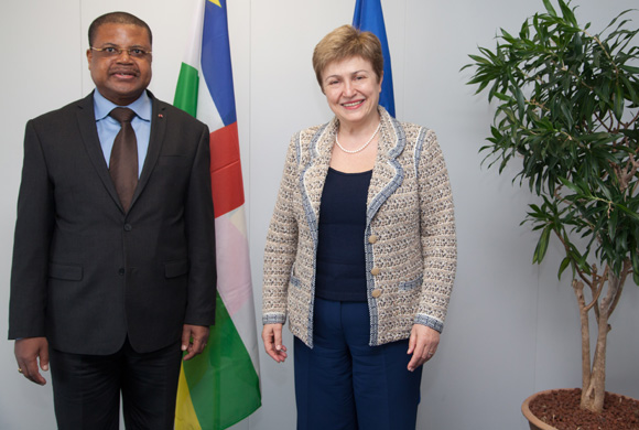 Nicolas Tiangaye, on the left, and Kristalina Georgieva