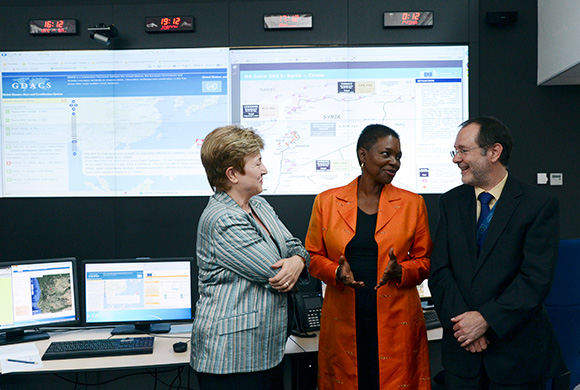 Kristalina Georgieva, left, and Valerie Amos, center