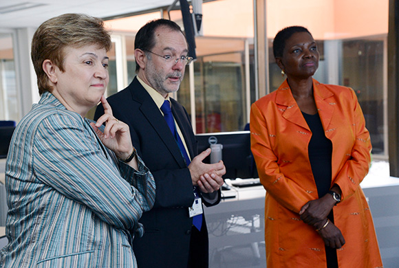 Kristalina Georgieva, left, and Valerie Amos, right