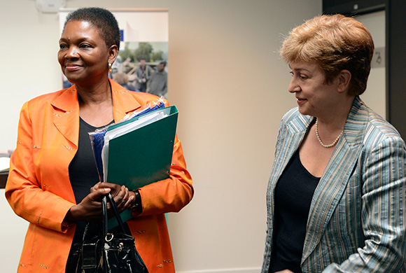 Kristalina Georgieva, right, and Valerie Amos, left