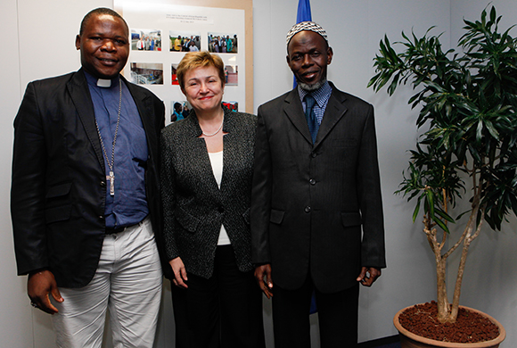 Group photo: Dieudonné Nzapalainga, Kristalina Georgieva and Omar Kabine Layama (from left to right)