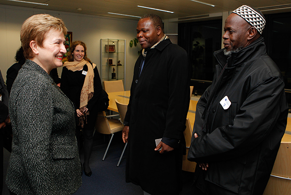 Kristalina Georgieva, on the left, Dieudonné Nzapalainga, in the centre, and Omar Kabine Layama, on the right