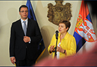She met with Serbian Prime Minister Aleksandar Vucic and addressed the press in a press conference.