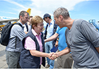 Here Commissioner Georgieva shakes hands with Kasper Engborg, Head of United Nations-Office for the Coordination of Humanitarian Aid, on the right, on her arrival at Tacloban Airport.