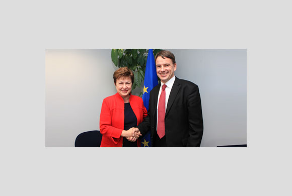 Commissioner Georgieva receives Christian Friis Bach, Danish Minister for Development Cooperation, at the Commission headquarters in Brussels and congratulates him on his 3 October appointment