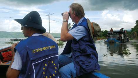 EU Assessment Experts survey the scene in the coastal town of Miragoâne