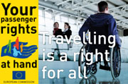Passenger Rights logo and a wheelchair in an airport