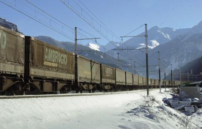 Freight train in the Alps