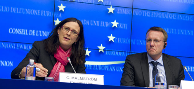 Cecilia Malmström and Danish Minister for Justice Morten Bodskov at the press conference following the Council meeting. Photo: European Council
