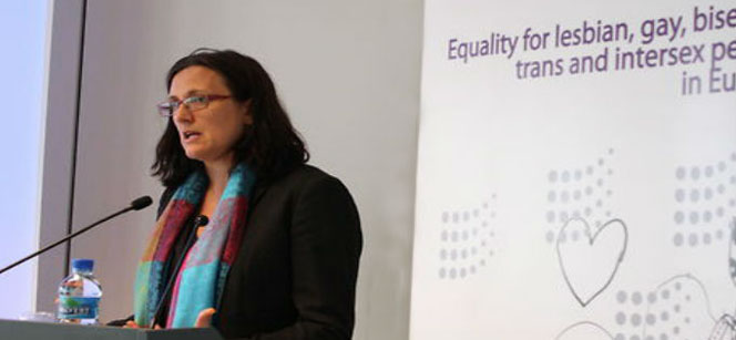 Cecilia Malmström at the launch of the LGBTI rights report. Photo: ILGA-Europe
