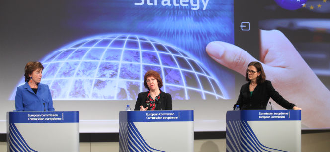 Thursday's press conference with Commission Vice-Presidents Neelie Kroes and Catherine Ashton and Commissioner for Home Affairs Cecilia Malmström. Photo: EbS