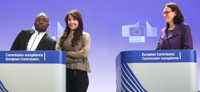 At Monday's press conference in Brussels: Bellarminus Kakpovi, PhD student from Benin, and Fatma Abidi, Masters student from Tunisia told about their experiences. To the right is Commissioner Cecilia Malmström. Photo: European Commission